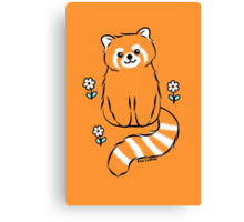 Red Panda with White Flowers Canvas Print