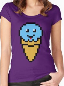 Pixel Blue Ice Cream Cone Women's Fitted Scoop T-Shirt