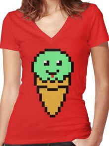 Pixel Green Ice Cream Cone Women's Fitted V-Neck T-Shirt