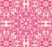 Hot Pink & Soft Cream Folk Art Pattern by micklyn