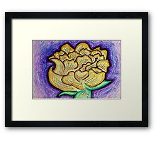 Purple and Yellow Floral - Peony Illustration Framed Print