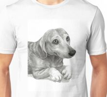Graphite Pencil portrait drawing of Peanut the Dachshund Unisex T-Shirt