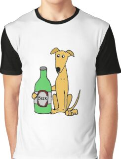Cool Funny Greyhound Dog with Large Beer Graphic T-Shirt