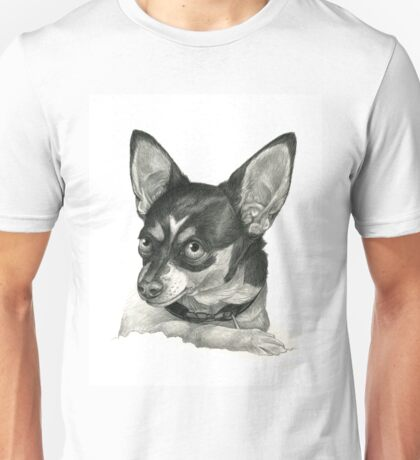 Graphite Pencil portrait drawing of a Chihuahua Unisex T-Shirt