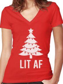Lit AF Women's Fitted V-Neck T-Shirt