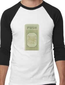 Main Street Trash Can Design Men's Baseball ¾ T-Shirt