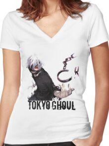 Anime: TOKYO GHOUL - Kaneki Women's Fitted V-Neck T-Shirt