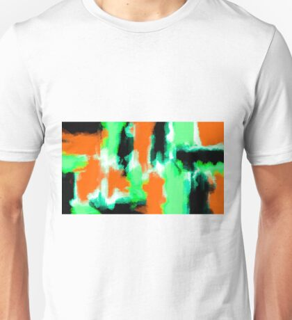 orange green and black painting abstract  Unisex T-Shirt