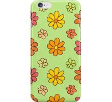 Colorful Flower Pattern on Green Background iPhone Case/Skin