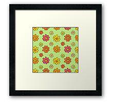 Colorful Flower Pattern on Green Background Framed Print