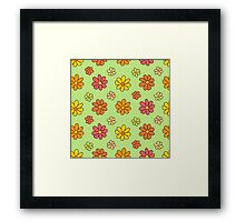 Colorful Flower Pattern on Green Background Framed Print