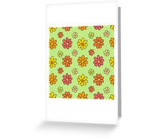 Colorful Flower Pattern on Green Background Greeting Card