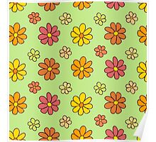 Colorful Flower Pattern on Green Background Poster