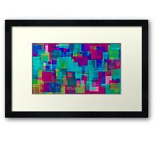 blue yellow pink green square pattern  Framed Print