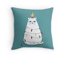 Grumpy Christmas Cat Throw Pillow