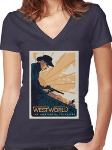 WEST WORLD Gifts and Merchandise Women's Fitted V-Neck T-Shirt