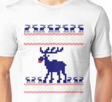 pixel rentier weihnacht stick rote nase ugly design party  Unisex T-Shirt