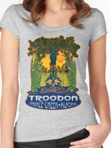 Retro Troodon in the Rushes (light-colored shirt) Women's Fitted Scoop T-Shirt
