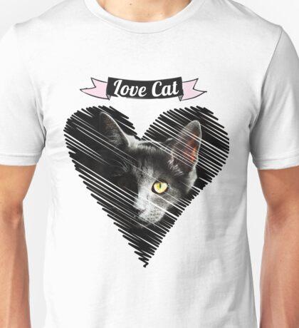 love black cat kitty katze baby herz Unisex T-Shirt