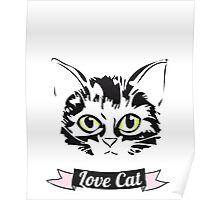 cat grüne augen love Kitty spruch fancy mädchen frauen Poster