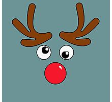 A Red Nose Reindeer Face Photographic Print