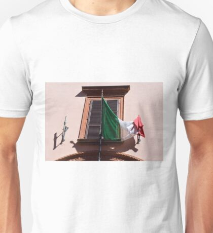 Italian flag in front of a window Unisex T-Shirt