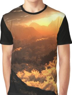 Cloudy Mountain Landscape Graphic T-Shirt