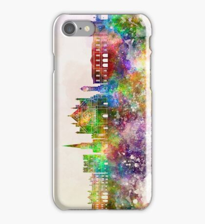 Exeter skyline in watercolor background iPhone Case/Skin