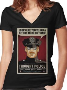 Thought Police Women's Fitted V-Neck T-Shirt
