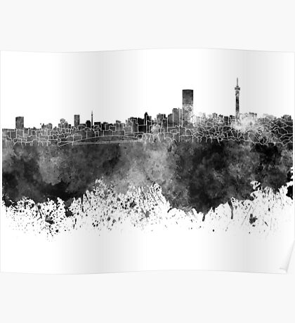 Johannesburg skyline in black watercolor on white background Poster