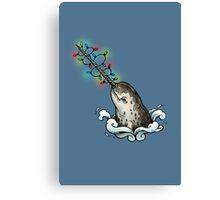 Christmas narwhal Canvas Print