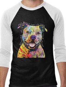 Colorful Pitbull Shirt - I love My Pitbull Men's Baseball ¾ T-Shirt
