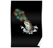 Christmas narwhal on black Poster