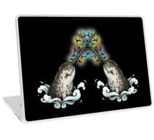 Christmas narwhal on black Laptop Skin
