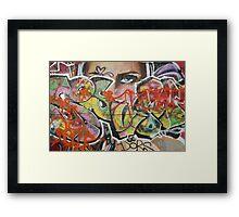 found street art urban graffiti layers texture pattern lettering portrait Framed Print