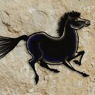 Cave Art Horse - Black Stallion by Jan Szymczuk