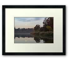 Supermoon Moonset Mirror Framed Print