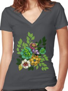 Flower Bouquet Print Women's Fitted V-Neck T-Shirt