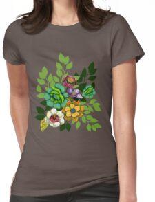 Flower Bouquet Print Womens Fitted T-Shirt