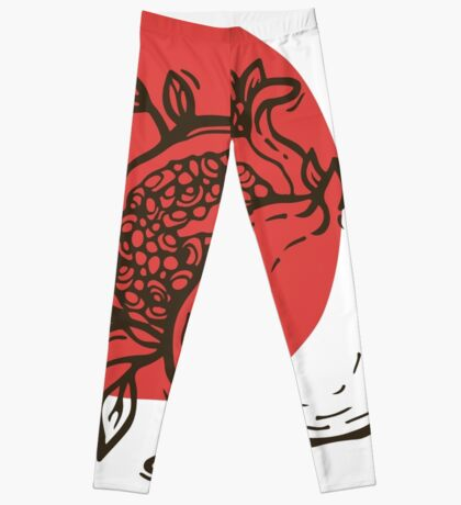 Pomegranates linocut Leggings
