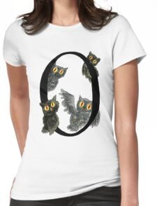 O is for Owls Watercolor Painting Womens Fitted T-Shirt