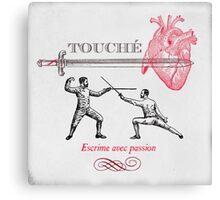 Fencing Touche Heart Canvas Print
