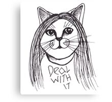 Deal With It Sassy Cat Canvas Print