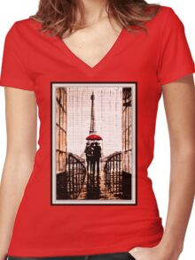 old book drawing famous people cal Women's Fitted V-Neck T-Shirt
