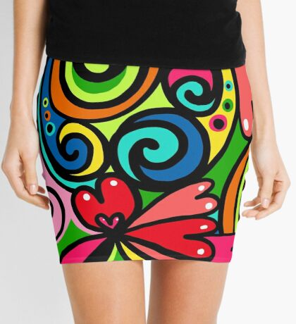 Psychedelic Love Abstract Mini Skirt