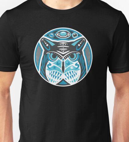 Owl Shamanic Animal Emblem - Grey Blue Unisex T-Shirt