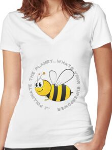 I Pollinate the Planet. what's your Superpower Women's Fitted V-Neck T-Shirt