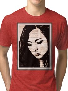 old book drawing famous people cal Tri-blend T-Shirt