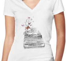 Butterfly Typewriter. Women's Fitted V-Neck T-Shirt