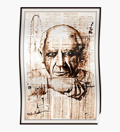 old book drawing famous people cal Poster